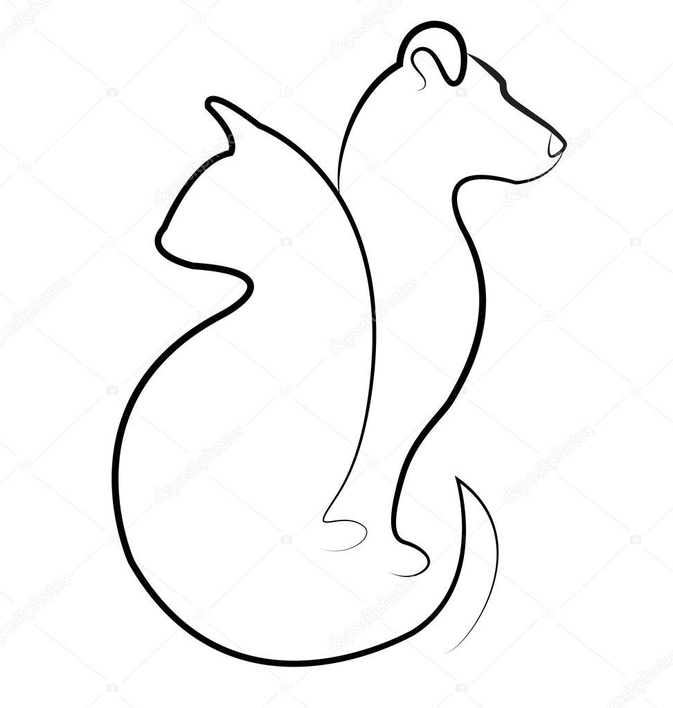Cat and dog silhouettes logo vector — Stock Vector #17169567