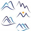 Set of stylized mountains logo vector — Vector de stock