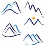 conjunto de vector logo estilizado montañas — Vector de stock