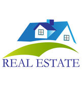 Real estate blue house logo — Stock Vector