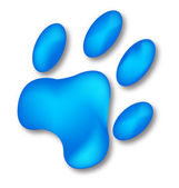 Dog blue footprint logo — Stock Vector
