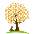 Cat , dog and footprint tree logo - Stock vektor