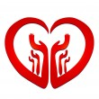 Hands in a heart logo - Stock Vector