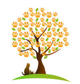 Cat , dog and footprint tree logo — Stock Vector