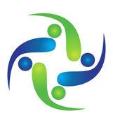 Travail d'équipe swooshes vector logo — Vecteur