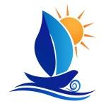 Boat leaf and sun creative logo vector — Stock Vector #23378764