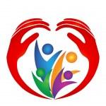 Family hands and heart shape logo — Stock Vector