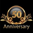 50 years anniversary birthday in gold - Stock Vector