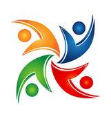 Swooshes logo unione teamwork — Vettoriale Stock