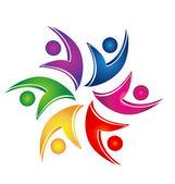 Swooshes logo de travail d'équipe aide les chiffres — Vecteur