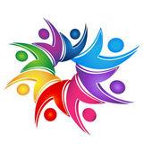 Swooshes logo sociale lavoro di squadra — Vettoriale Stock