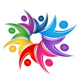 Swooshes sociala lagarbete logotyp — Stockvektor