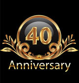40 years anniversary birthday in gold — Stock Vector