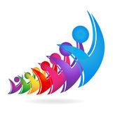 Swooshes insignia equipo feliz — Vector de stock