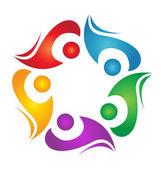 Teamwork diversity logo — Stock Vector