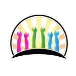 Family hands protection logo vector — Stock Vector