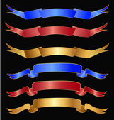 Set of ribbons in gold, red and blue colors — Stock Vector