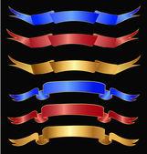 在金色、 红色和蓝色颜色的丝带一套 — 图库矢量图片