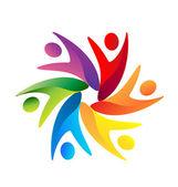 Pracy zespołowej swooshes logo — Wektor stockowy