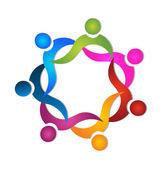 Travail d'équipe swooshes logo — Vecteur
