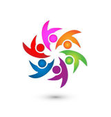 Teamwork happy group logo vector — Stock Vector