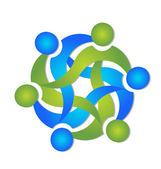 Entreprise de travail d'équipe swooshes vector logo — Vecteur