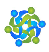 Teamarbeit geschäft swooshes logo vektor — Stockvektor
