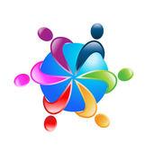Teamwork around world logo vector — Stock Vector