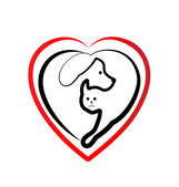 Cat and dog heart silhouette logo vector — Stock Vector