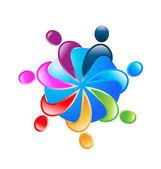 Teamwork 7 people around world logo vector — Stock Vector