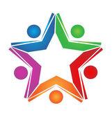 チームワークのカラーブックのロゴのベクトル — ストックベクタ