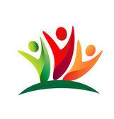 Pracy zespołowej szczęśliwy swooshes logo ludzie — Wektor stockowy