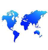 Mapa świata w żywy kolor niebieski — Wektor stockowy