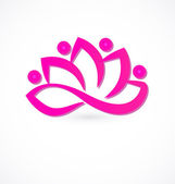 Pink lotus flower logo vector — Stock Vector