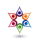Teamwork hands up logo — Stock Vector
