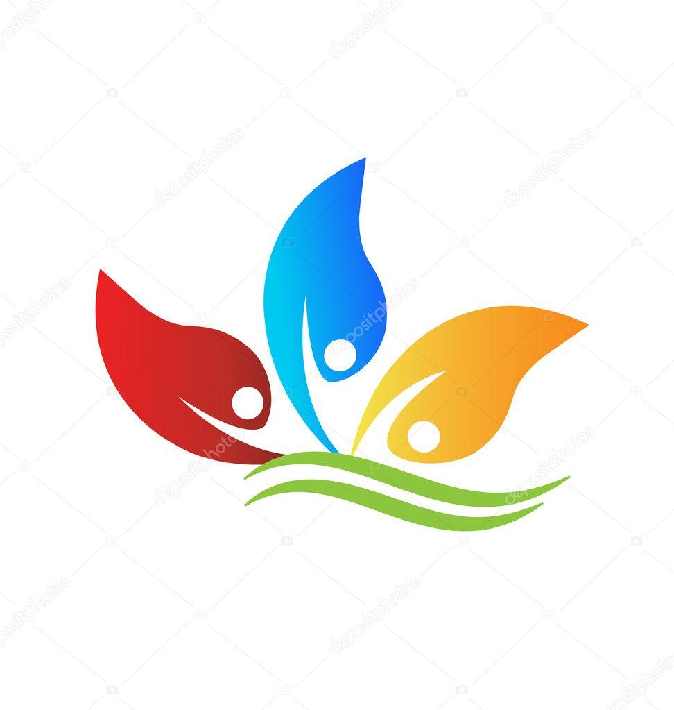 健康, 乐观的人和叶子 logo 矢量 eps 10— 矢量图片作者 glopphy