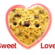 Sweet love with chocolate chip cookie background — Foto de Stock