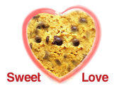 Sweet love with chocolate chip cookie background — Stock Photo