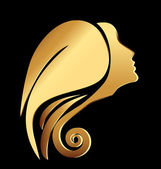 Vector of a gold woman face logo — Stock Vector