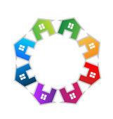 Teamwork houses icon vector — Stock Vector