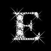 Letter C with diamonds bling bling — Stock Vector