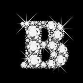 Letter B with diamonds bling bling — Stock Vector