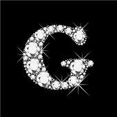 Letter G with diamonds bling bling — Stock Vector