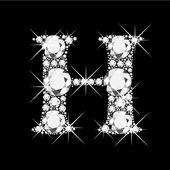 Letter H with diamonds bling bling — Stock Vector