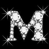 Letter M with diamonds bling bling — Stock Vector