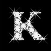 Letter K with diamonds bling bling — Stock Vector