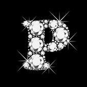 Letter P with diamonds bling bling — Stock Vector