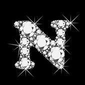 Letter N with diamonds bling bling — Stock Vector