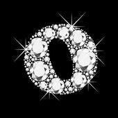 Letter O with diamonds bling bling — Stock Vector