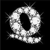 Letter Q with diamonds bling bling — Stock Vector
